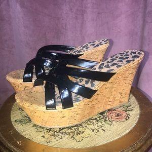 Jessica Simpson Patent Leather Cork Wedges